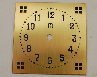Square Mission Clock Dial - Etched Brass