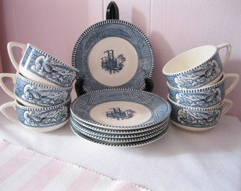 Saucer and cups (6)  Currier & Ives