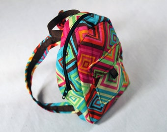 18-inch doll backpack-Geometric squares