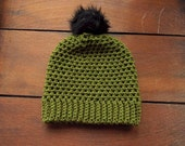 faux fur pom beanie in olive