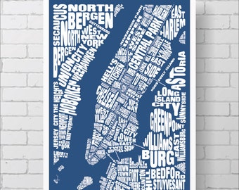 New York City Neighborhoods Map Print / Manhattan Map - Custom NYC Typography Map with Landmarks, Various Colors, Map Art Print Poster