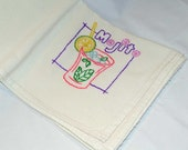 Hand Embroidered Vintage Design Tea Towel or Bar Towel, Mixed Drink Mojito Great Gift Idea #97