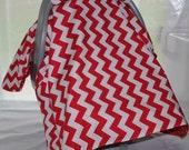 Car Seat Canopy - Red Chevron
