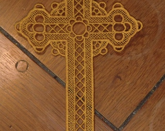 Embroidered Bookmark  - Cross - Gold