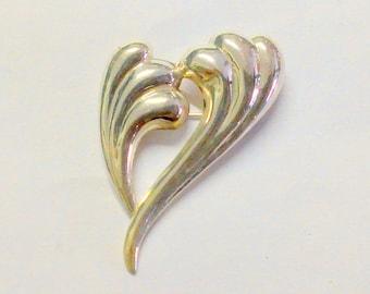 Modern Heart Sterling Silver Brooch / Pin