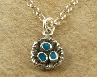 Sterling Silver Blue Enameled Robins Eggs in Nest Pendant on a Sterling Silver 3mm Rolo Necklace - 1933