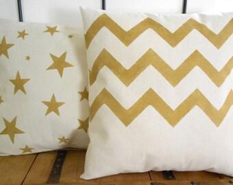Chevron Pillow Cover Golden Chevron Pillow Cover Hand Printed Gold Chevron