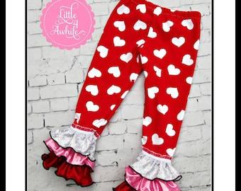 PDF Sewing Pattern - Girls Mak's Ruffled Leggings Pants Video Pattern