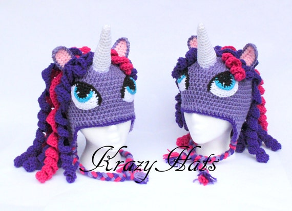 Crochet unicorn hat. Purple unicorn hat.Crochet horse hat.