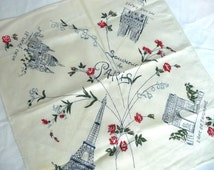 Vintage Paris handkerchief - souvenir Paris handkerchief - vintage souvenir handkerchief - cotton Paris handkerchief