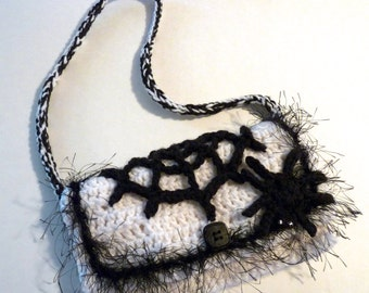 Halloween crochet spider and web purse goth black and white shoulder bag fully lined handbag