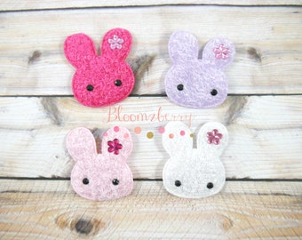 """2"""" Easter Bunny Padded/Applique - Assorted Color - Furry Bunny Padded - Easter/Birthday- Bunny Embellishment -Hair AccessoriesSupplies"""