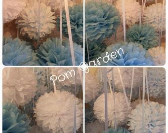 Tissue Paper Pom Poms - Set of 12 - Baby Shower/Nursery/Ceremony/Baptism Decor/Birthays Decor
