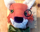 Handmade fabric fox head wall hanging