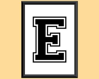 Typography Giclee Print Monogram Initial Wall Art Varsity Letter E