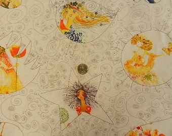 Bloom Princesses on White  by Clothworks - Fabric By The Half Yard 18 inches x 44 inches