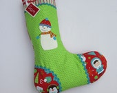 Personalized Christmas Stocking Hand Appliqued Snowman Red and Green