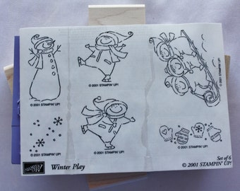 Snowflake Snowman Winter Play Set of Six Rubber Stamps Stampin Up 2001