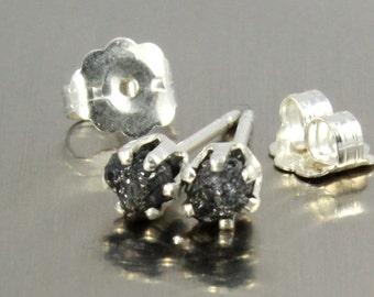 Rough Diamonds in Sterling Silver - Post Earrings - 3mm Small Stud Earrings - Uncut Raw Diamonds - Bridesmaid Gift