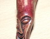 Handmade Unique Small walnut Pipe with surrealistic Face coloured in Red