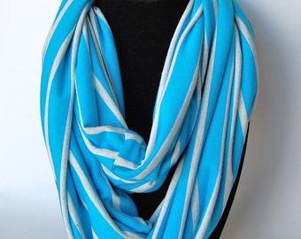Infinity Scarf Jersey Knit Blue + White Stripes