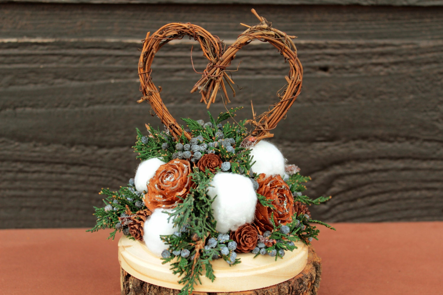 Rustic Winter Wedding Cake Topper Grapevine by