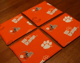 Clemson Tigers Reversible Fabric Coasters - Set of 4, Tailgating coasters, Graduation Gift, Clemson University, Housewarming, Gifts under 20