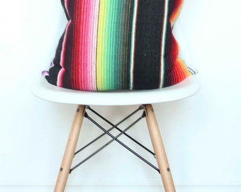 Black Traditional Serape backed with a Thin Black and White Stripe PILLOW cover