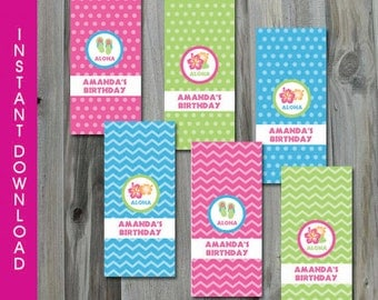 Hawaiian Luau Party Mini Hershey Bar Candy Wrapper, Self Editable, INSTANT DOWNLOAD, Printable, Personalize, Favor Label, Digital Pdf File