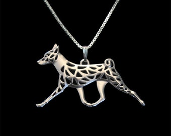 Basenji movement - sterling silver pendant and necklace