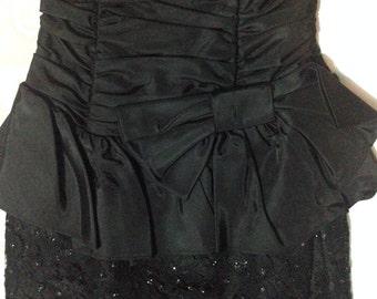 1980s little black dress strapless