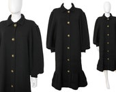 Albertina Roma 1980s Vintage Sculptural Knitted Coat Dress Black US Size 6-8 Small
