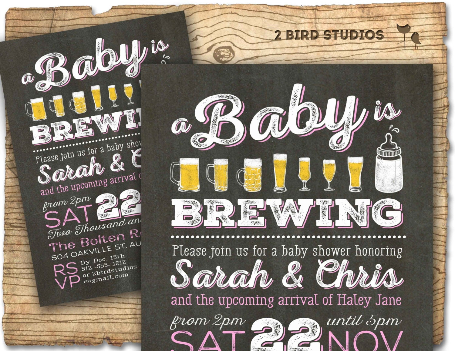 coed baby shower invitation beer baby shower by 2birdstudios