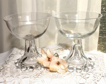 Vintage French Chic,Vintage Wedding Glassware,Champagne glasses,Romantic wedding gift,Candlewick,Hobnail pattern