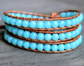 ON SALE Beaded Leather Wrap Bracelet 3 Wrap with Aqua Turquoise Blue Beads on Natural Tan Leather Beachy Ocean Bracelet *Ready to Ship*