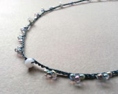 Teal Blue Lilac Beaded Crochet Necklace Dainty Romantic Boho Bohemian Jewelry Feminine Pretty Necklace No Metal Necklace Short Necklace