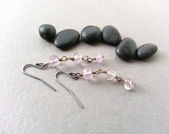 Pink Amethyst Dangle Earrings Sterling Silver Ear Wires Oxidized Brass Wire Rosary Chain Beaded Links Mixed Metal Elegant Statement Piece