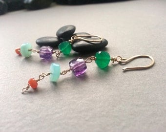 Modern Gold Filled Drop Earrings Gemstone Green Onyx Peruvian Opal Amethyst Carnelian Aqua Blue Lavender Purple Burnt Orange SpecialOccasion