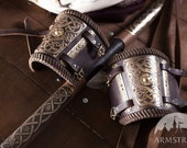 15% DISCOUNT! Embossed Leather Bracer Arm Guard (pair);