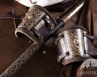 Embossed Leather Bracer Arm Guard (pair);
