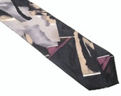 MODERNIST Vintage 1980s ABSTRACT Geometric Black Pure Silk RETRO Necktie Made in U S A Mod Deco Revival Fashion Neck Tie