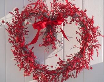 Valentine wreath, valentine decoration, holiday wreath, holiday decoration, heart wreath, red heart wreath, front door wreath, valentine