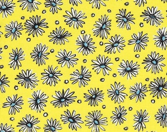 Daisies on Yellow (B)  by Suzuko Koseki for  Yuwa of Japan