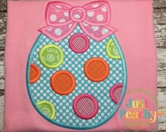 Polka Dot Easter Egg with Bow - Custom monogram - Infants to Youth