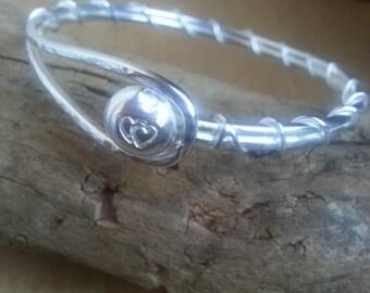 Silver  Bracelet Bangle Unique Sterling Silver Bracelet Hook Latch Cuff Bracelet Hallmarked by Edinburgh Assay