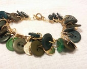 Repurposed Upcycled Button Bracelet Emerald Green and Gold