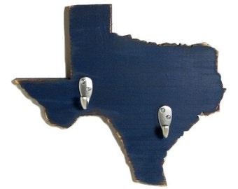 Texas state key hooks, wood, coat hooks, home decor, shabby chic, distressed, handmade, painted Navy Blue