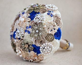 Brooch bouquet, Wedding Bouquet, Bridal Bouquet, Ivory Champagne and Royal Blue bouquet, Jewelry Bouquet. Quinceanera Keepsake Bouquet