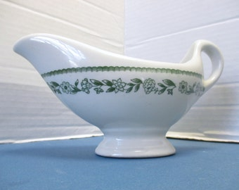 Buffalo China Kenmore Pattern - Retro Diner Restaurant Ware - Green Gravy Boat