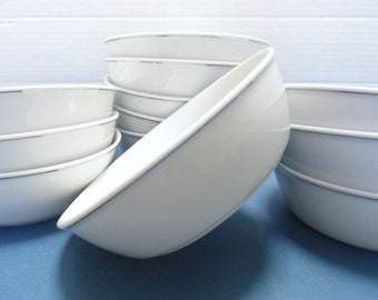 Amko China Airline Collectible Ware American Airlines First Class China - Set of 4 Large White and Platinum Bowls (3 Sets Available)